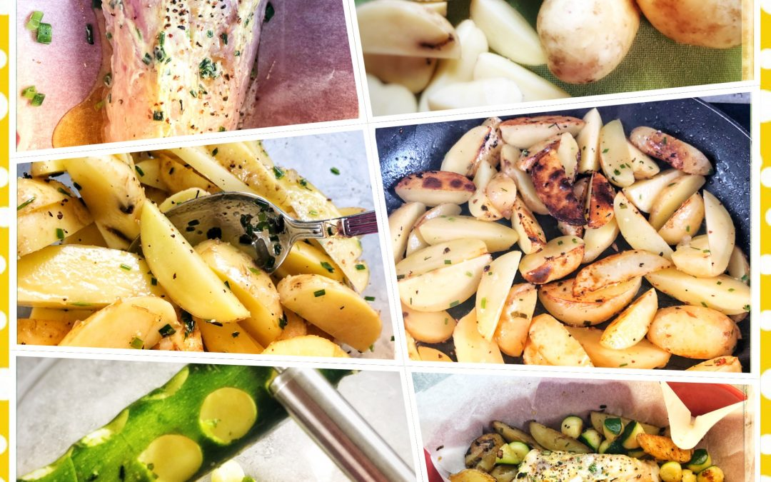 Filet de lotte cuisson basse température, pommes de terre nouvelles, billes de courgettes et mayonnaise au citron