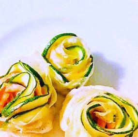 Fleurs de courgettes et saumon fumé